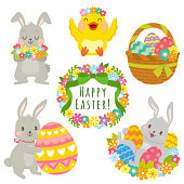 Easter animals clip art set