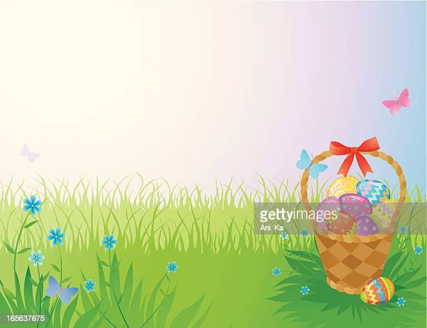 easter background - easter basket stock illustrations