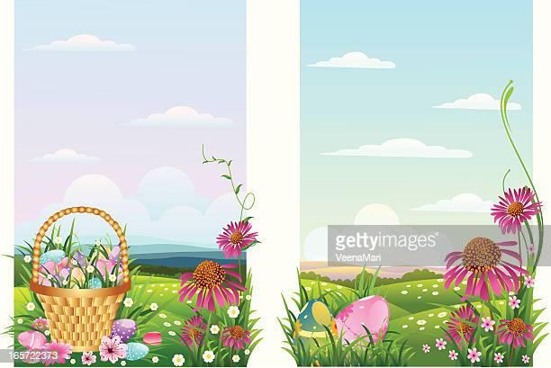 ilustrações, clipart, desenhos animados e ícones de fundo da páscoa - cesta de páscoa