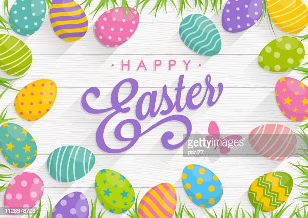 easter background with colorful eggs on wood background with text happy easter - easter stock illustrations