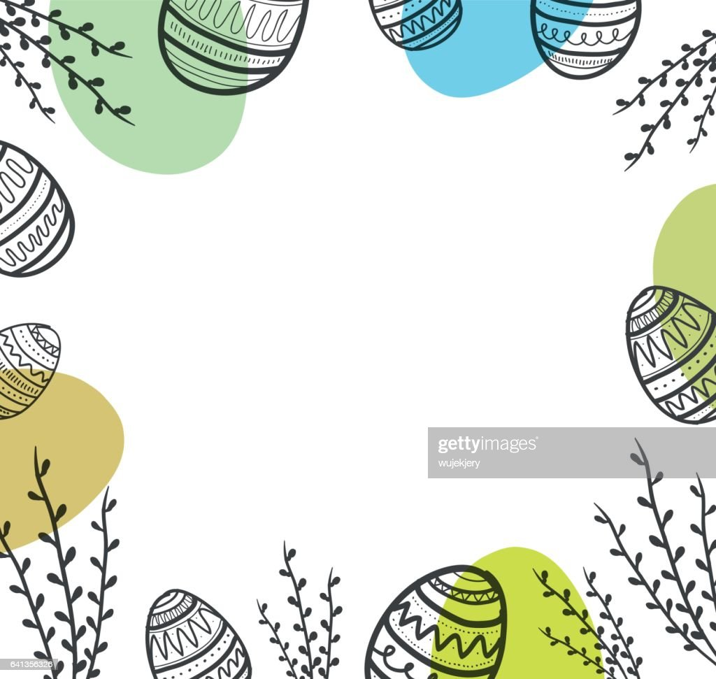 Easter background with eggs and flower.