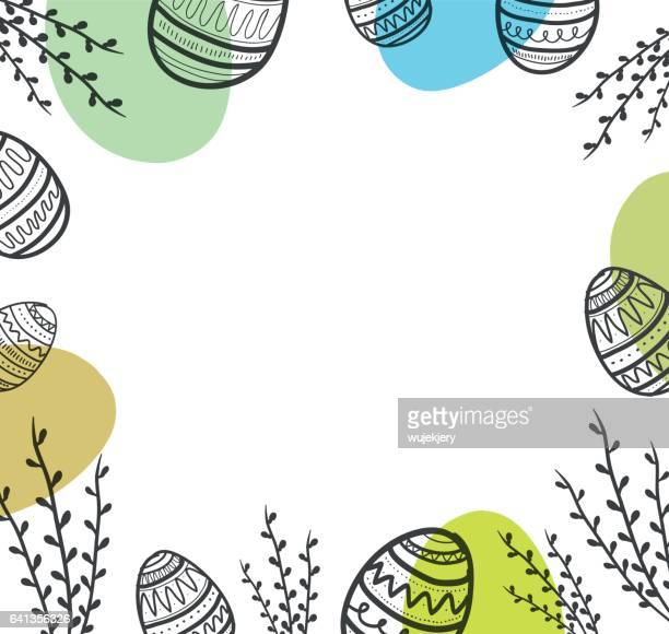 easter background with eggs and flower. - easter stock illustrations, clip art, cartoons, & icons