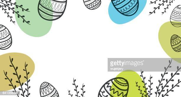 easter background with eggs and flower. - easter stock illustrations