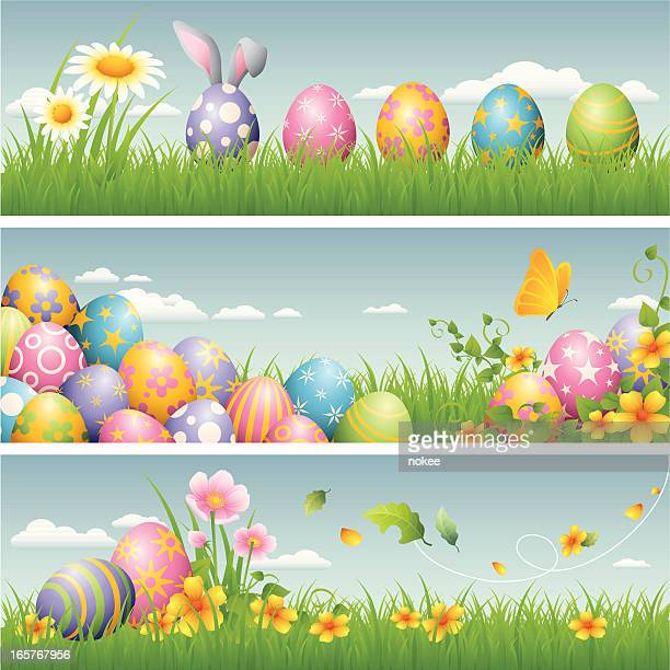 easter banner - easter bunny stock illustrations