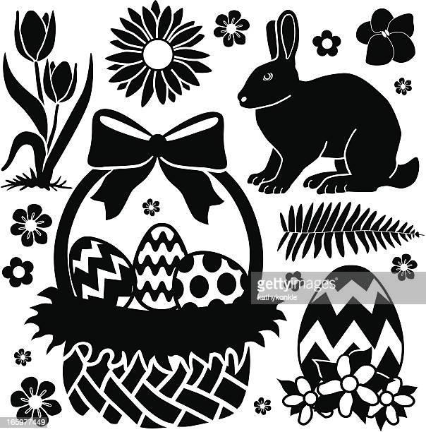ilustrações, clipart, desenhos animados e ícones de cesta de páscoa e bunny - cesta de páscoa