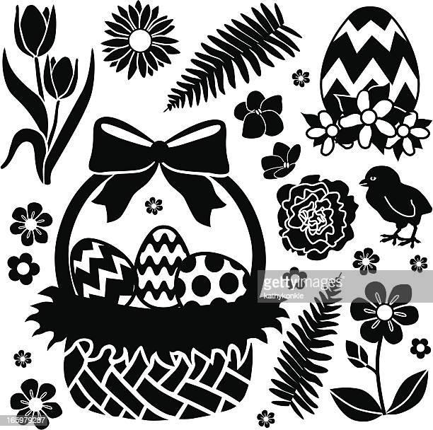 ilustrações, clipart, desenhos animados e ícones de cesta de páscoa e chick - cesta de páscoa