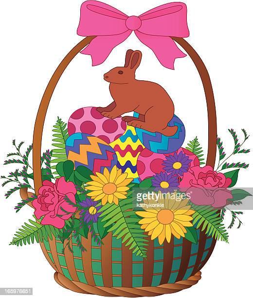 ilustrações, clipart, desenhos animados e ícones de cesta de páscoa e chocolate bunny - cesta de páscoa
