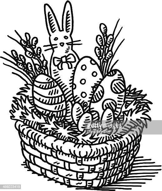 ilustrações, clipart, desenhos animados e ícones de cesta de páscoa desenho - cesta de páscoa