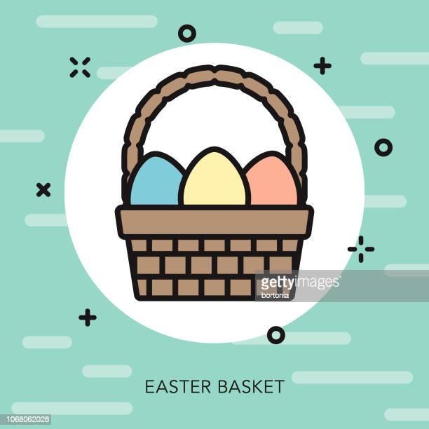 ilustrações, clipart, desenhos animados e ícones de ícone de fina linha primavera páscoa cesta - cesta de páscoa