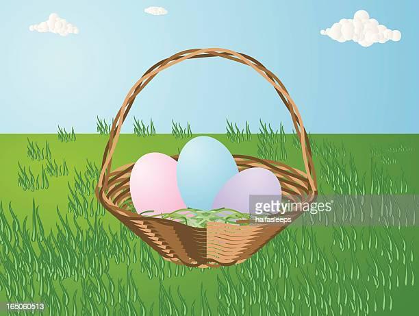 ilustrações, clipart, desenhos animados e ícones de cesta de páscoa - cesta de páscoa