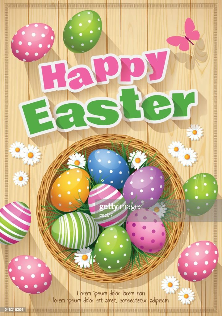 Easter basket with colored eggs with text Happy Easter : Vector Art