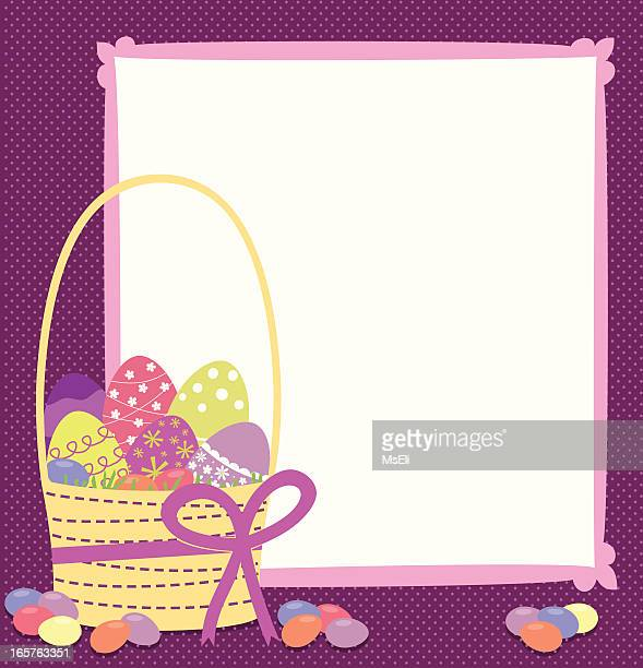 easter basket with eggs and jellybeans - easter basket stock illustrations