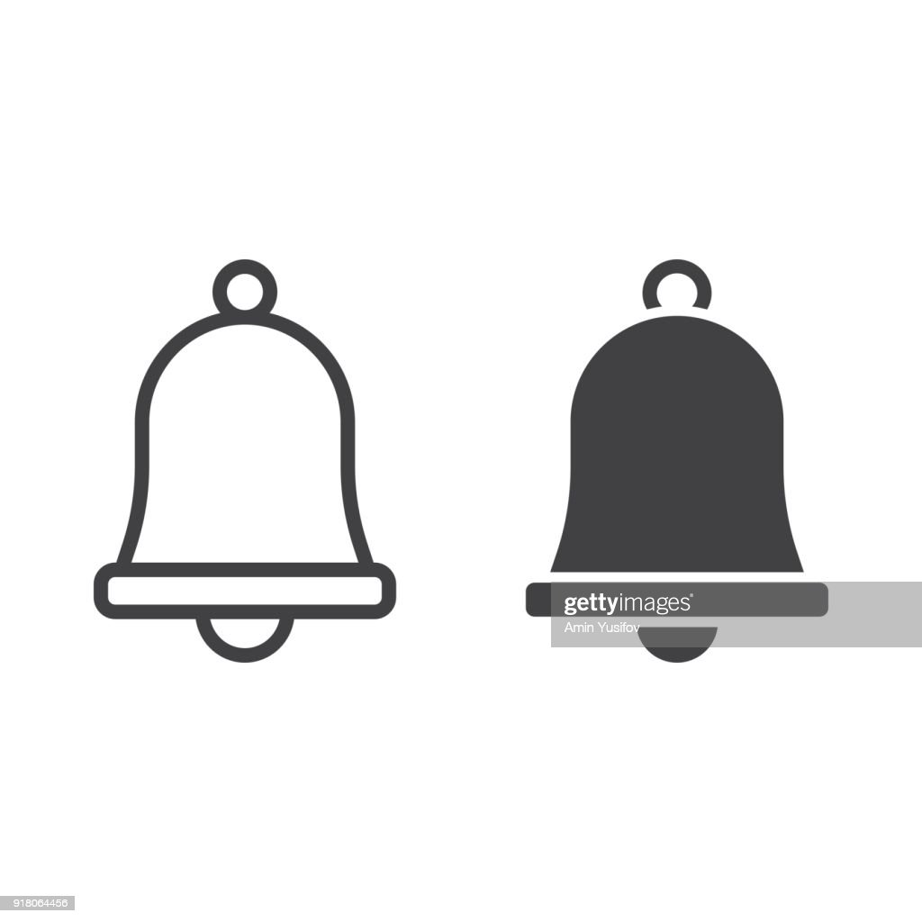 Easter bell line and glyph icon, easter and holiday, jingle sign vector graphics, a linear pattern on a white background, eps 10.