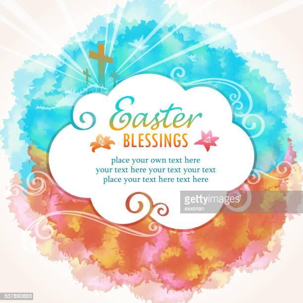 bildbanksillustrationer, clip art samt tecknat material och ikoner med easter blessings message - taggig buske
