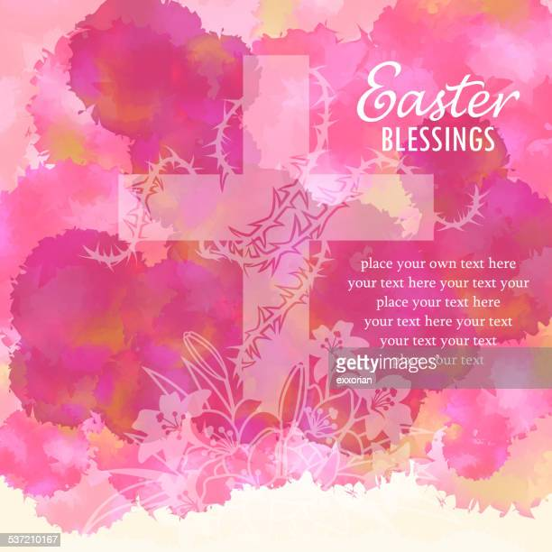 easter blessings watercolor background - religious blessing stock illustrations