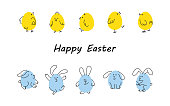 Easter borders with funny bunnies and chicks