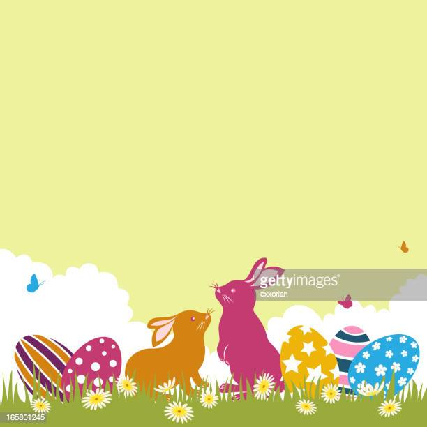easter bunnies and eggs - easter egg hunt stock illustrations, clip art, cartoons, & icons