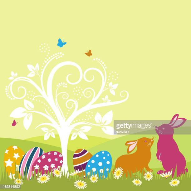 easter bunnies and whimsical tree - easter egg hunt stock illustrations, clip art, cartoons, & icons