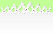 Easter bunnies design with copyspace. Vector.