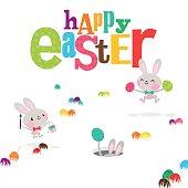 Easter bunnies egg happy cute bunny rabbit paint invitation illustration