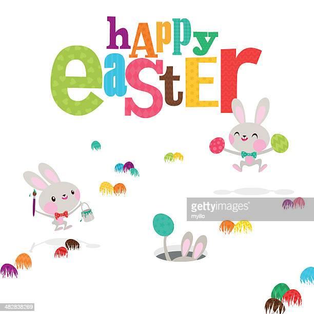 easter bunnies egg happy cute bunny rabbit paint invitation illustration - easter bunny stock illustrations