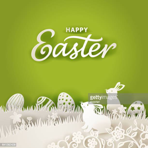 easter bunnies paper cut background - easter stock illustrations