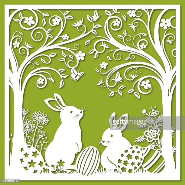 easter bunnies paper-cut art - easter bunny stock illustrations, clip art, cartoons, & icons