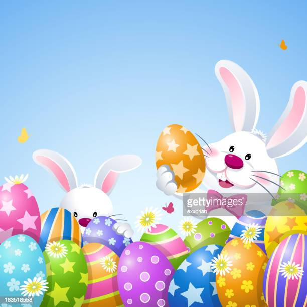 easter bunnies playing easter egg hunt - hidden stock illustrations, clip art, cartoons, & icons