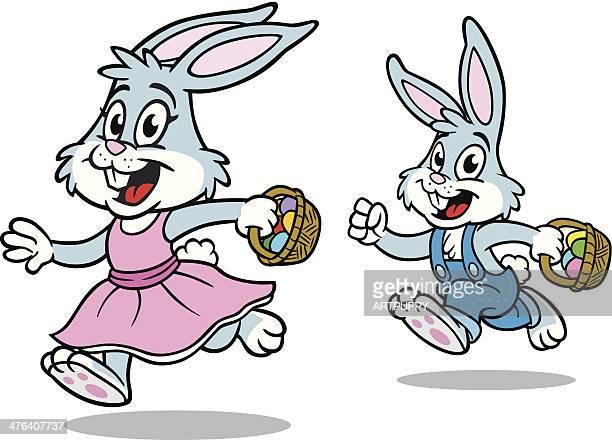 Easter Bunnies Running