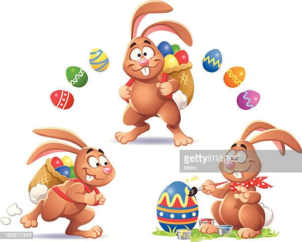 easter bunnies - easter bunny stock illustrations