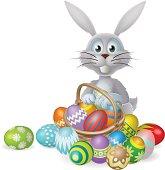 Easter bunny and chocolate egg basket