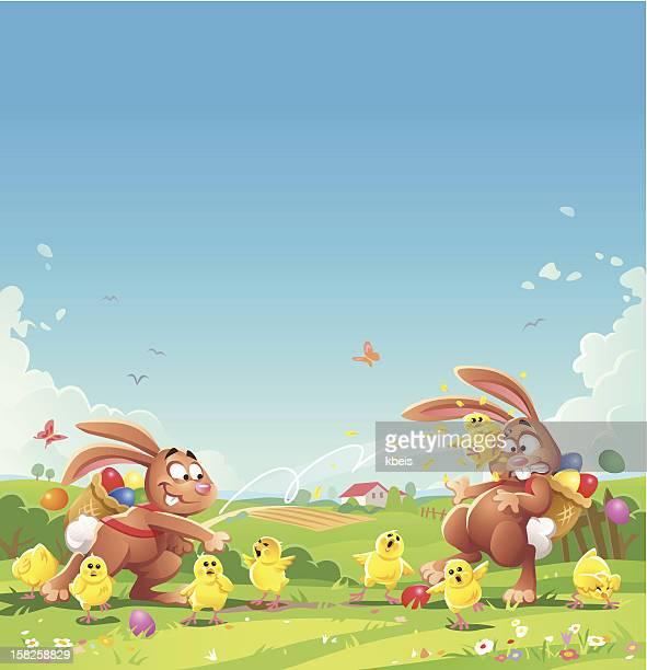 ilustraciones, imágenes clip art, dibujos animados e iconos de stock de conejo de pascua chick lucha - grupo grande de animales
