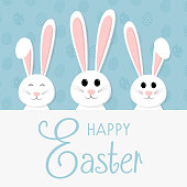 Easter bunny - cute card with greetings. Vector.