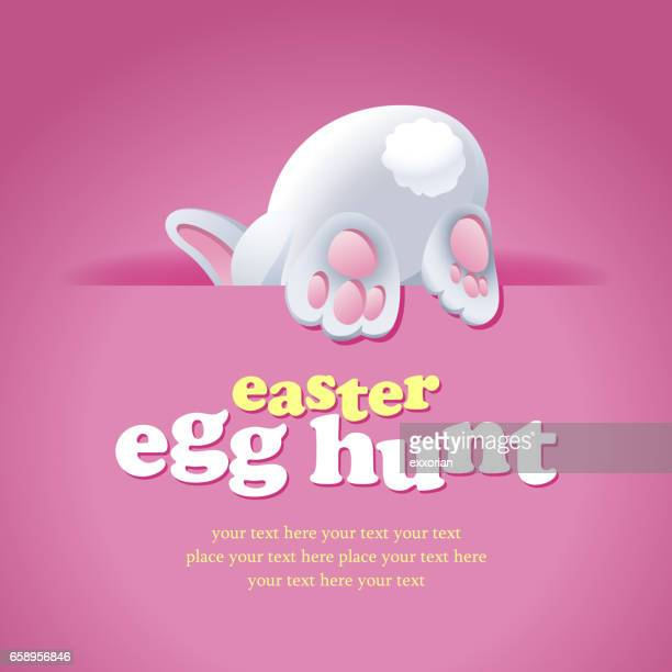 easter bunny egg hunt - easter bunny stock illustrations