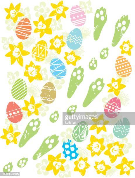 easter bunny egg trail - easter bunny stock illustrations