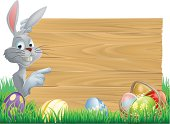 Easter bunny eggs and sign