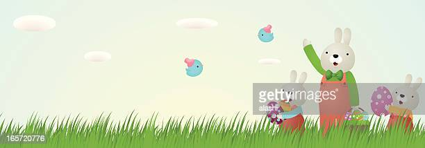 ilustrações, clipart, desenhos animados e ícones de coelhinho da páscoa, ovos, azul na grama com céu fundo - cesta de páscoa