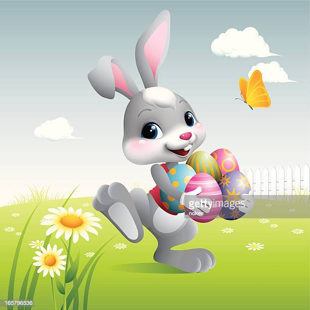 easter bunny - eggs - easter bunny stock illustrations