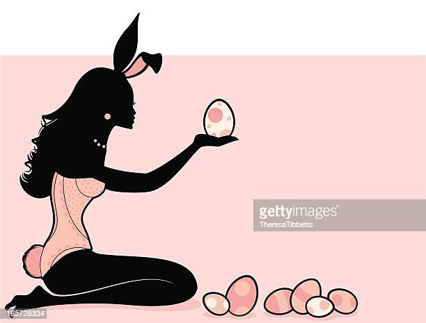easter bunny girl - easter bunny stock-grafiken, -clipart, -cartoons und -symbole