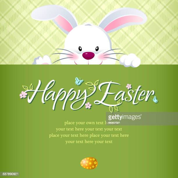 easter bunny hiding behind the notice - easter bunny stock illustrations