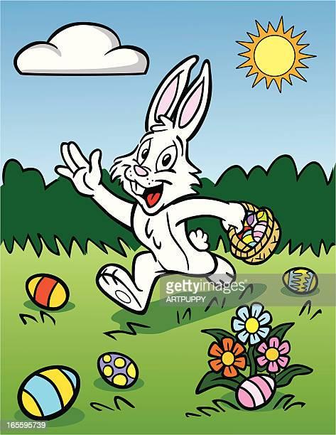 Easter Bunny Hiding Eggs