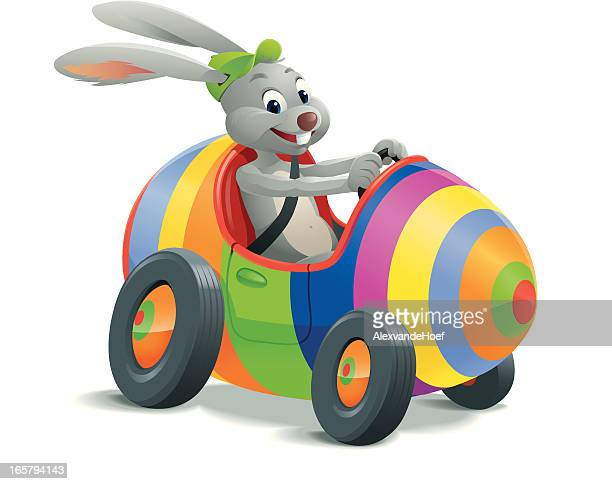 easter bunny in egg car - easter bunny stock illustrations
