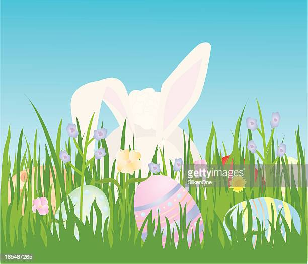 easter bunny in the grass - easter bunny costume stock illustrations, clip art, cartoons, & icons