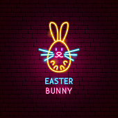 Easter Bunny Neon Label