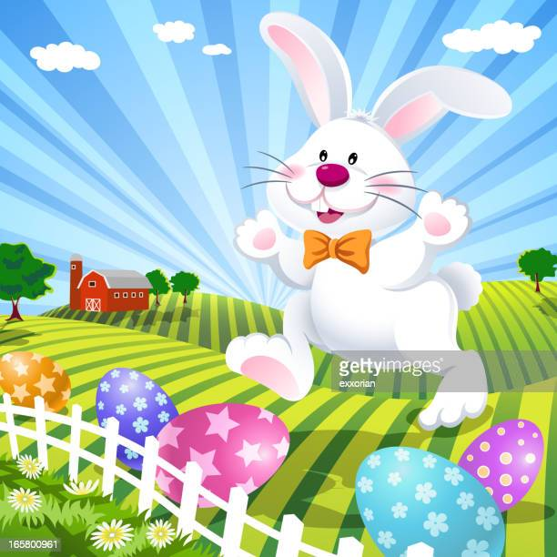 easter bunny on the farm - enclosure stock illustrations