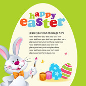 Easter Bunny Painting Easter Egg Invitation