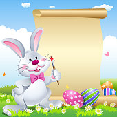 Easter Bunny Painting Scroll