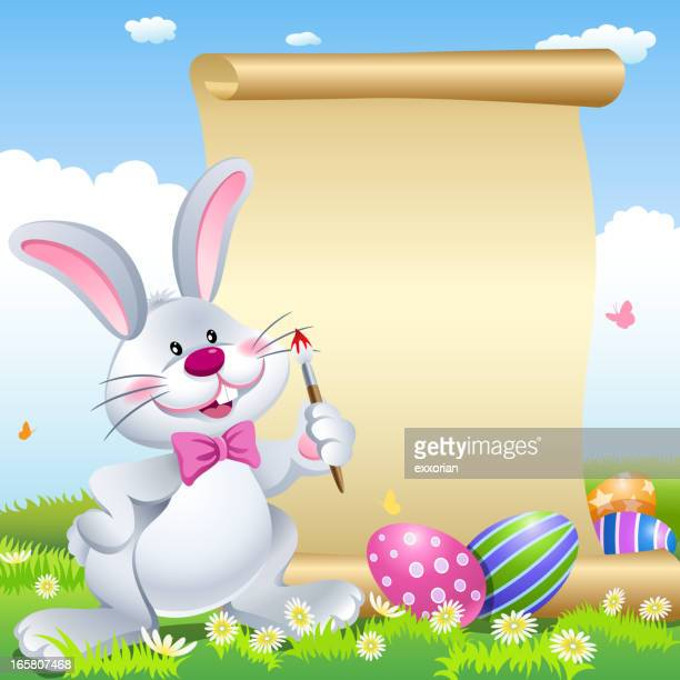 easter bunny painting scroll - easter bunny stock illustrations