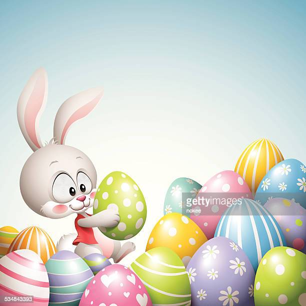 easter bunny - pile of eggs - easter bunny stock illustrations