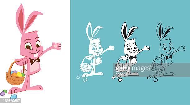 ilustrações, clipart, desenhos animados e ícones de coelhinho da páscoa apresentar - cesta de páscoa